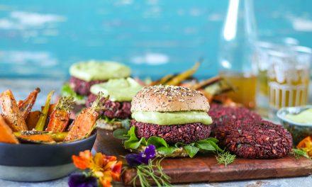 Vegan Freekeh Beetroot Burgers with Avo-naise