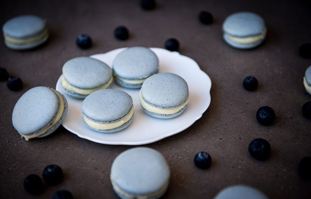 Gluten Free Blueberry Cheesecake Macarons for Valentine's Day
