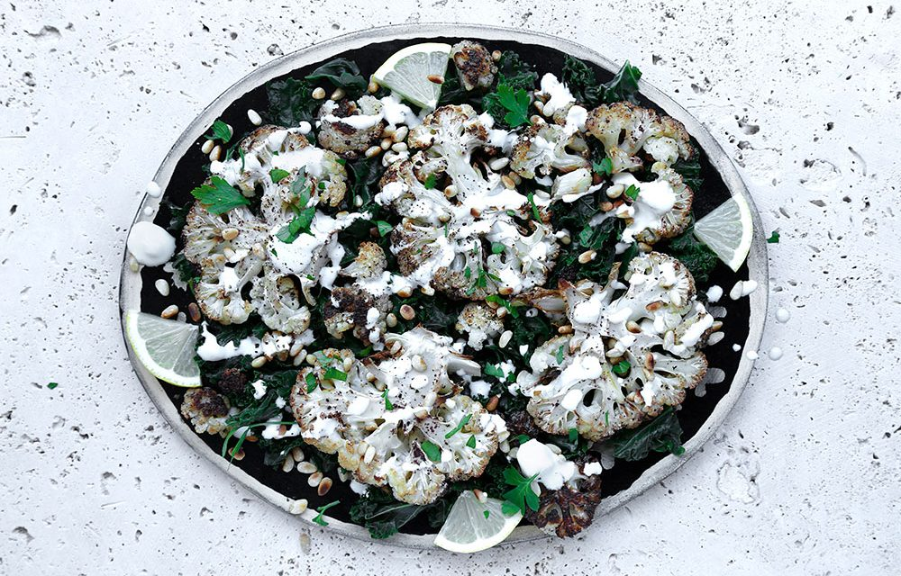 Cauliflower Steaks with Goat's Cheese & Pine Nuts