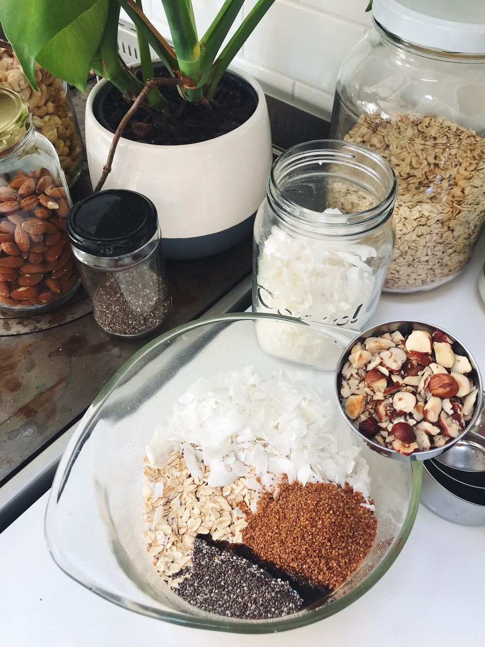 Chocolate granola ingredients