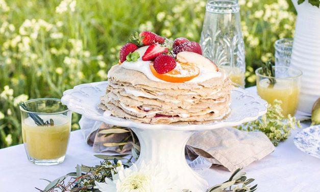Coconut Cream & Fresh Fruit Crêpe Cake