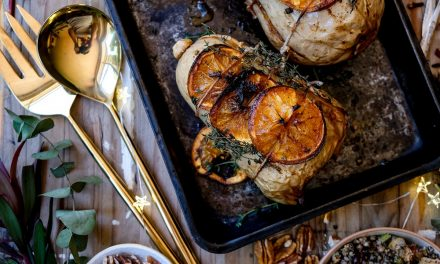 Orange Glazed Butternut with Buckwheat Stuffing