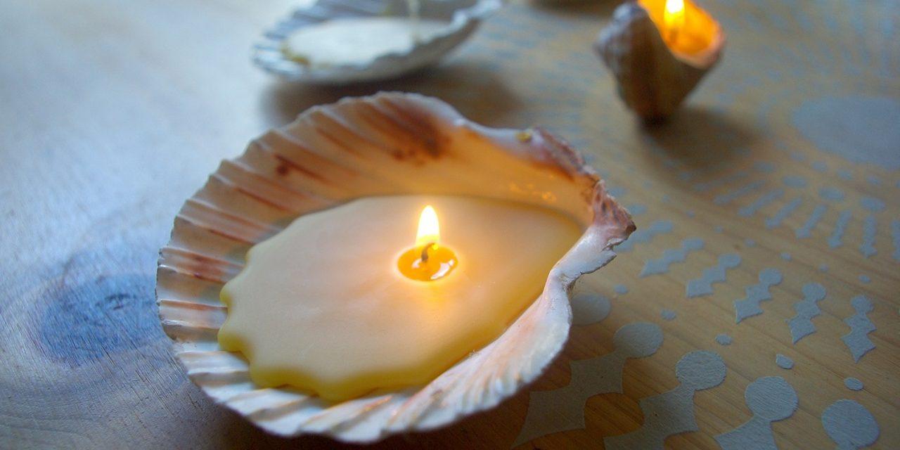 Easy Eco Beeswax Seashell Candles