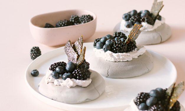 Vegan Pavlova With Black Sesame Brittle and Blackberries