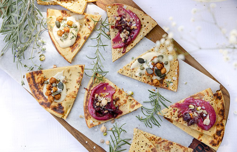 Chickpea Flatbreads with Beetroot Tahini