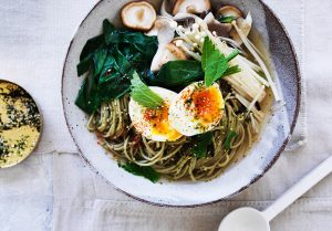 Matcha Noodles with Miso broth and soft egg