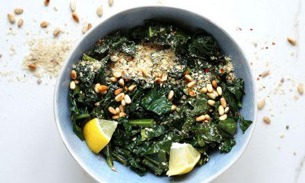 Creamy Vegan Parmesan & Pine Nut Kale