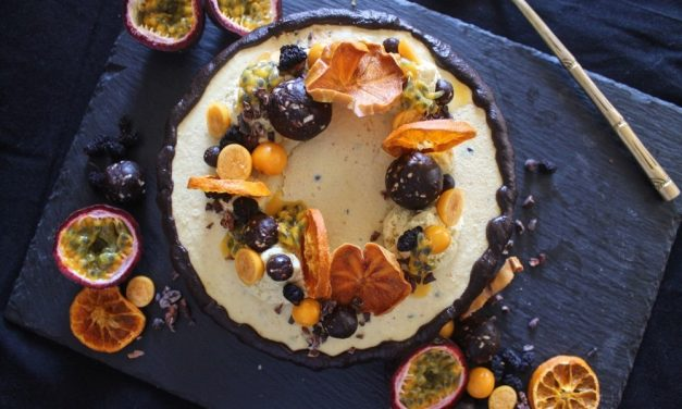 Passion Fruit and Gooseberry Cashew 'Cheese' Cake