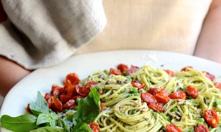 Super Green Basil Pesto Pasta With Candied Tomatoes