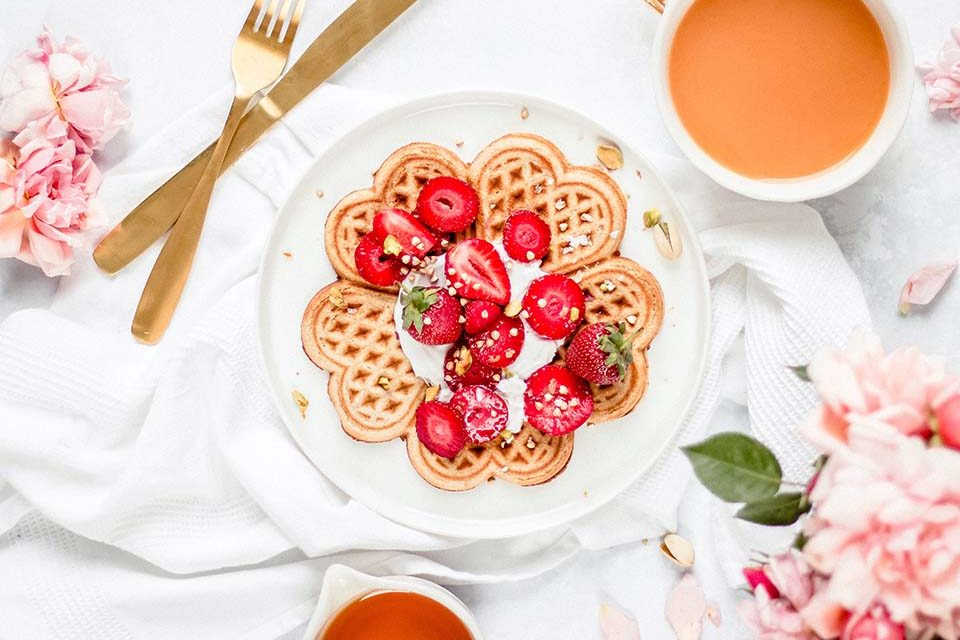 Crispy Rose & Cardamom Waffles