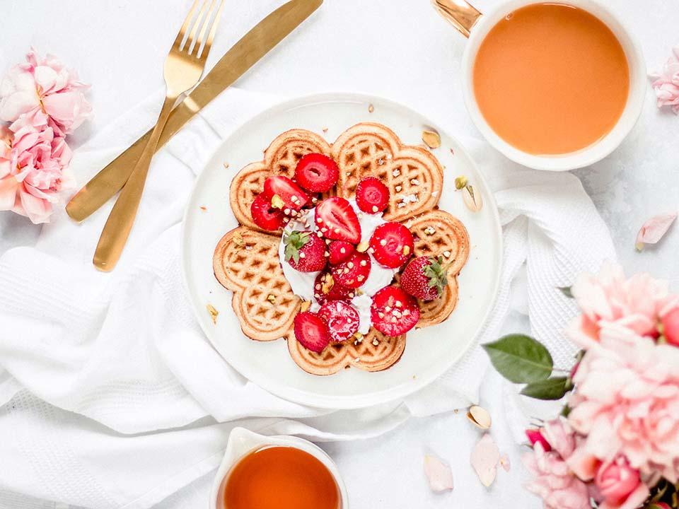 Rose Cardamom Crispy Waffles
