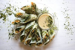 Three grain rice paper rolls with miso and peanutbutter dipping sauce_1
