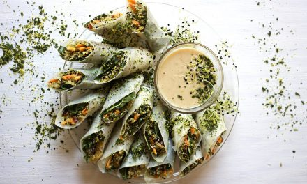 Three Grain Rice Paper Rolls with Miso and Peanut Butter Dipping Sauce