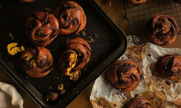 Turmeric Buns with Pecan Maple Drizzle