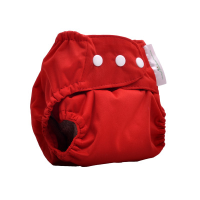 Mother Nature All in Three Bamboo Nappy (Cover+ Insert Bamboo) - Red